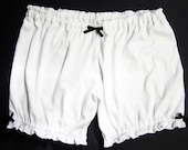 Womens Bloomers- S/M Size - White with Black Bows