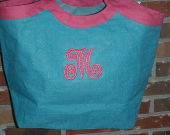 Jute Open Tote Personalized