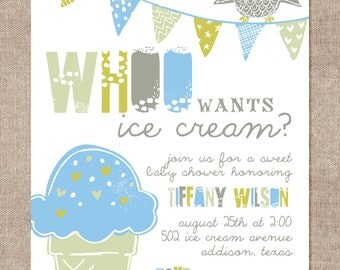 Whoo Wants Ice Cream (Baby Shower Invitation)