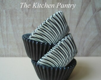 Mini Cupcake Liners -  Mini Baking Cups Cake Pops    75 Mini  Black  Stripe