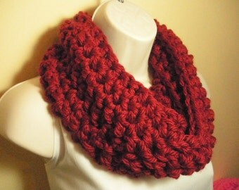 Scarlet Red Cowl Infinity Circle Scarf Neckwarmer Extra Thick and Bulky