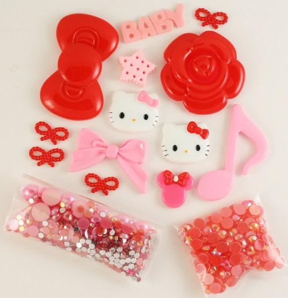 "SALE - Petit Deco Kawaii ""Darling"" Red / Pink Kit"