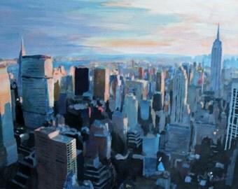 New York City - Manhattan Skyline in Warm Sunlight
