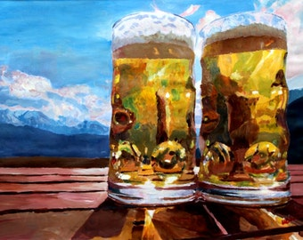 Two beers with Mountains - Limited Edition Fine Art Print