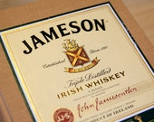 Yellow blank Jameson whiskey label notebook