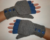 Hand-knitted grey color women convertible fingerless gloves/wrist warmers