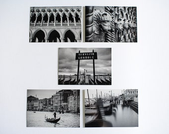Black and White, Postcards, Set of 5, Venice, Venice Photography, Travel photography, Gift for friend, gift for traveler, Italy, Photography