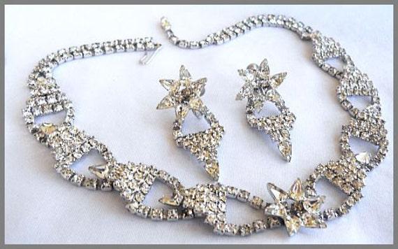 Vintage Rhinestone Necklace & Earring Demi Set Wedding Holidays Formal Silver Metal