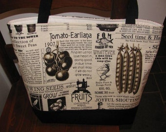 Tote, Market Bag, Library Bag, Sewing Seeds, Work Tote, Seeds, Seed Catalog fabric