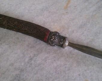 Old Antler and Ornate Silver Handled Knife Hone Sharpener