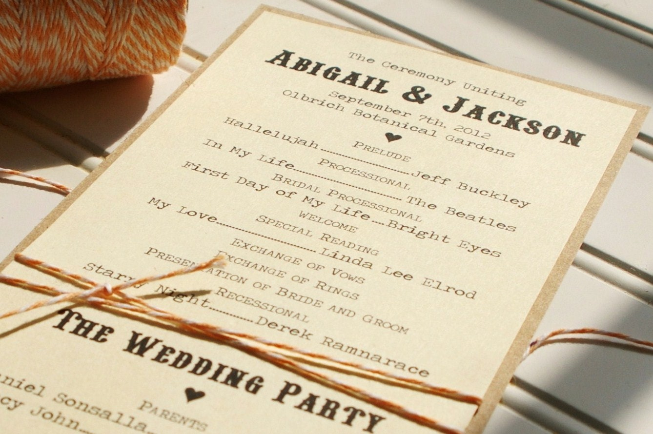 Wedding Programs: Handmade Custom Kraft and Bakers Twine