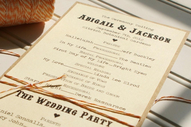Wedding Programs Handmade Custom Kraft And Bakers Twine