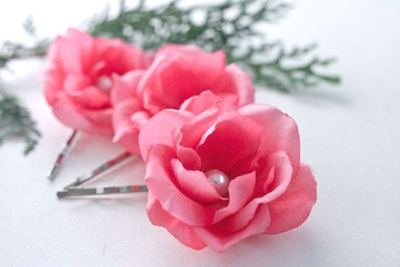 LAST SET - Pink Roses Hair Pins (3 pcs) Small Hair Flowers Pink Hair Accessories Flower Hair Clips with Pearls Wedding Bridal, Bridesmaids