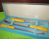 Amber Colored Vintage Bakelite Carving Set in Original Box from the early 40's.