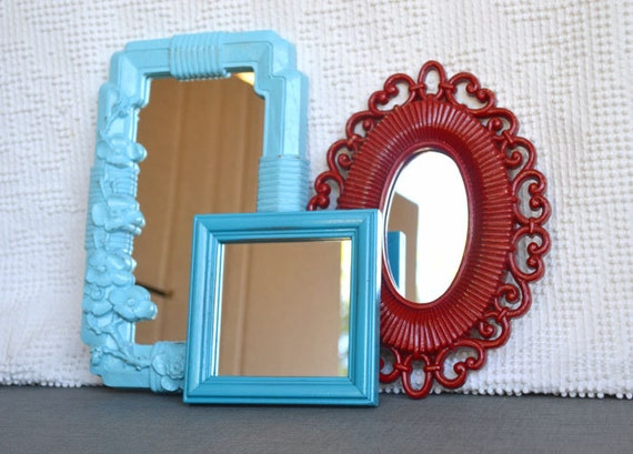 Aqua Turquoise and Red Upcycled Mirror collection.... Painted Modern Mirror set of 3 Modern Decor Baby Nursery