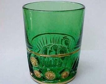 Gorgeous Victorian Era Emerald Green Pattern Glass Tumbler