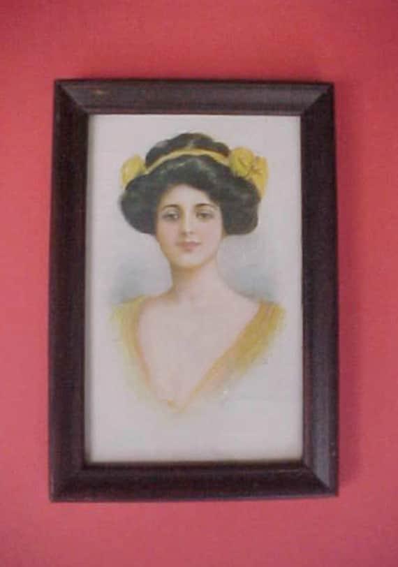 Lovely Edwardian Era Framed 1908 Postcard of Beautiful Lady in Yellow