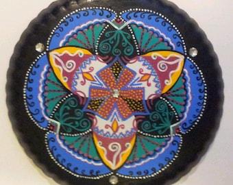 Beautiful Mandala  - Originai Acrilic paint, Recycled Material