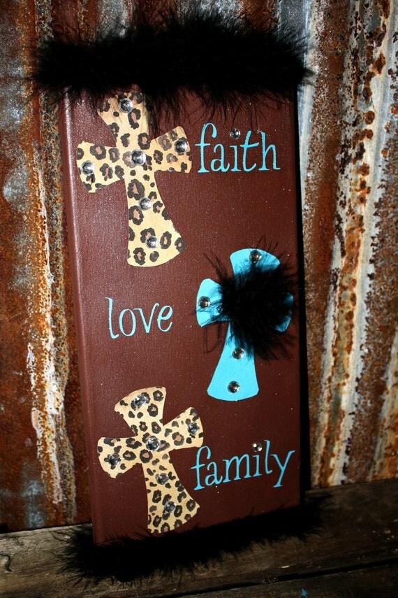 Items similar to faith love family 7x14 canvas home decor for Best home decor on etsy