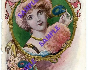 Digital Download-The Masked Ball-Vintage card with Lovely Girl