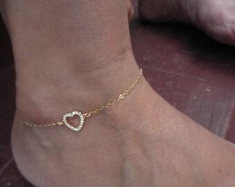 CZ vermeil heart anklet bracelet on gold-filled chain
