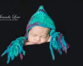 Instant Download - Pixie Bonnet Hat Crochet Pattern - thick and thin yarn newborn to 4 years