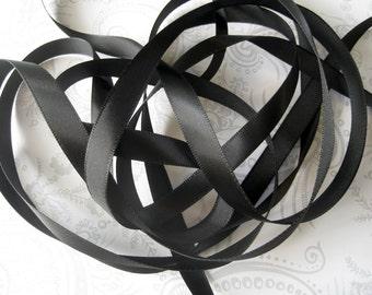 Black Satin Ribbon 3/8 -- 3 yards -- 9.5mm