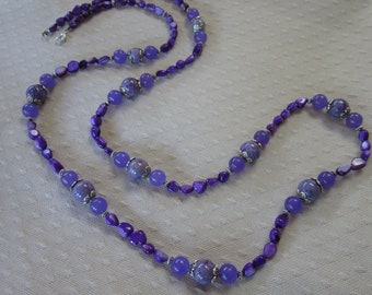 Long Purple Beaded Necklace with FREE matching earrings