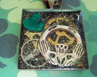 Irish Claddagh Means Love St. Patricks Day Steampunk Antique Gears Pendant Necklace #1