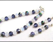 Bracelet and Earring Set in Grey and Silver Rosebuds