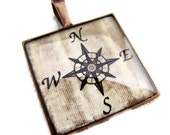 Resin Pendant, Compass, Beige, Black, 1 inch, Square, Unisex