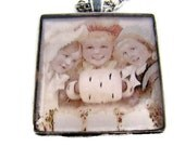 Resin Pendant, Bundled Up Girls, Christmas, Holidays, 1 1/2 inch, Square, Necklace, Glitter, For her, White, Red