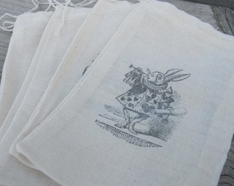 Set of 25 Hand stamped  Alice In Wonderland Muslin Gift Party Favor Bags 100% organic made in america