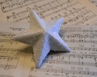Vintage Inspired Christmas Glitter Glass 3D Star Ornament