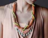 SALE 40off- Kershaw, Neon Statement Necklace, tribal necklace, raw ropes with chains and hand painted rhinestones. OOAK
