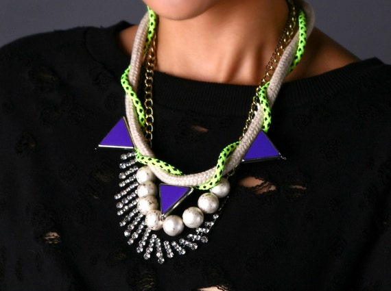 Kahei, Neon Necklace, statement necklace, with faux pearls, rhinestones, ropes and chains. statement necklace