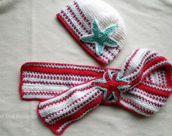 Crochet pattern, hat and scarf crochet pattern, baby crochet hat set pattern (100) 5 sizes INSTANT DOWNLOAD
