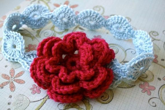 Crochet Pattern Baby Flower Headband Pattern By Luzpatterns
