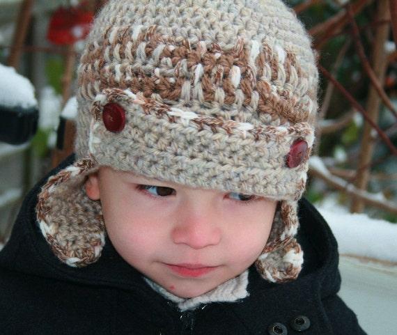 Child Crochet Aviator Hat Pattern : Crochet pattern baby aviator hat pattern with scarf by ...