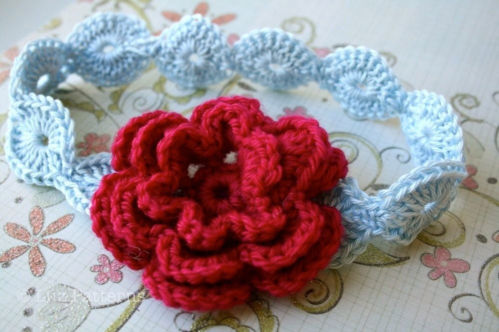 Crochet pattern baby flower headband pattern by LuzPatterns