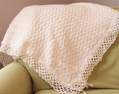 White Baby Blanket with Hand Made Lace