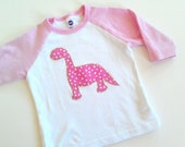 Dinosaur Shirt Girls pink baby girl toddler unique modern
