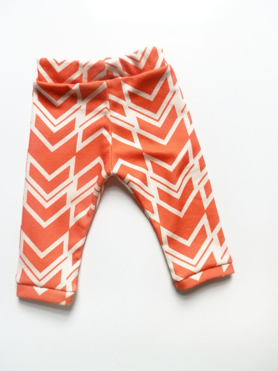 Baby Leggings, Ikat Braid in Coral Red, Organic Cotton 0-3m Newborn Leggings by Little Hip Squeaks