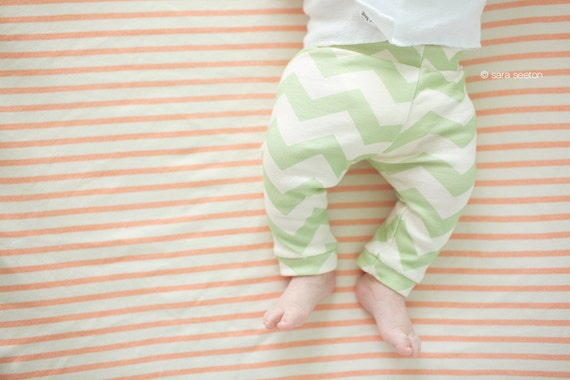 Baby Leggings, 6-12m, Seafoam Chevron, Organic Cotton Hip Baby Leggings, SALE