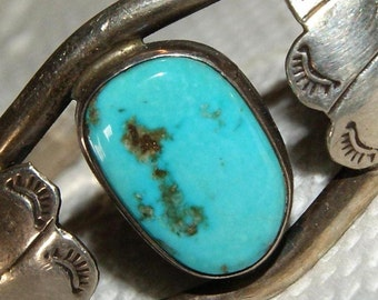 HARVEY ZUNI CUFF  Turquoise Sterling c1950