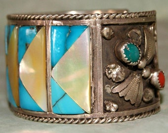 OLD PAWN ZUNI Cuff 3oz Sterling Signed c1960