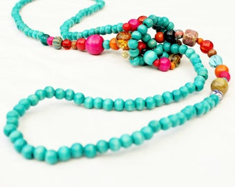 Long wooden bead necklace, turquoise rope knot necklace, hot pink and orange, boho, funky, contemporary