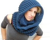 Serenity blue cowl, winter cowl, crochet cowl, infinity scarf, hooded cowl, crochet snood, crochet scarf, winter scarf,