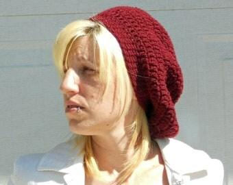 Flirty slouch crochet hat in burgandy