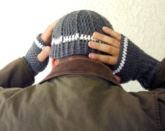 Mens fingerless gloves and beanie set, wrist warmers, mittens, cap, gloves in grey and white